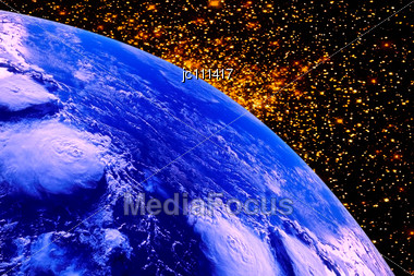 Planet Earth To Air Space On A Background Of Stars Stock Photo