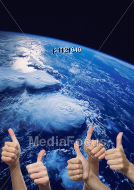 Planet Earth In Air Sight Of Space Stock Photo