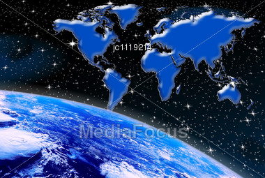 Stock photo planet earth world map aerial view image jc1119214 planet earth world map and aerial view of the space against the backdrop of night sky gumiabroncs Choice Image