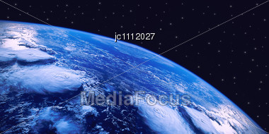 Planet Ground In Air Sight Under A Sky Starry Stock Photo