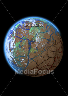 Planet Loss As Result Of A Global Disaster Stock Photo
