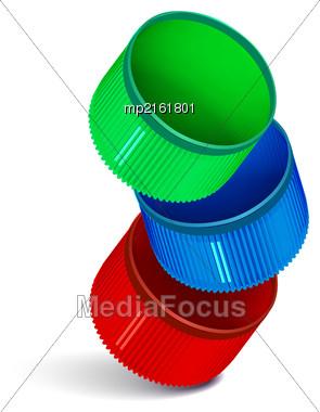 Plastic Bottle Caps Isolated On White Background. Vector Illustration Stock Photo