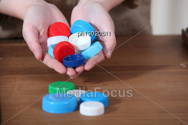 Plastic Bottle Tops Stock Photo