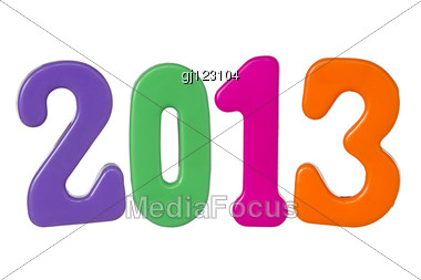 Plastic Color Numbers Shows Year 2013. Stock Photo