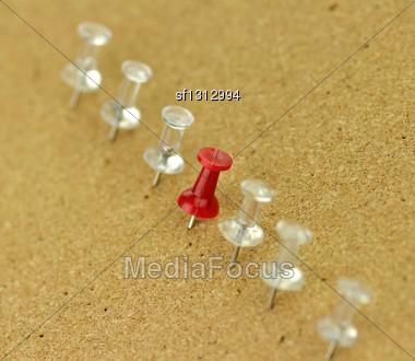Plastic Thumbtack On Cork Board Stock Photo