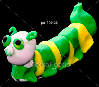 Plasticine Caterpillar. Creativity Of Children From Preschool Age Stock Photo