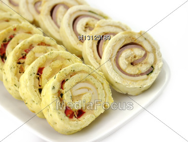 Plate Of Many Mini Bite Size Sandwich Appetizers Stock Photo