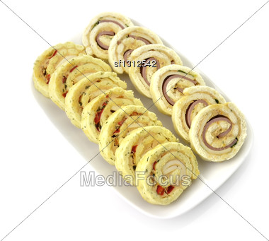 Plate Of Many Mini Bite Size Sandwich Appetizers Stock Photo