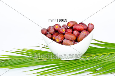Plate Of Fresh Date Fruits Stock Photo