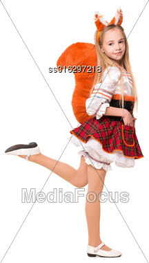 Playful Little Blond Girl Wearing Like A Squirrel. Isolated On White Stock Photo