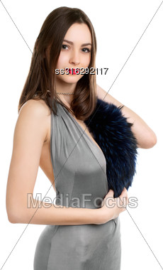 Playful Sexy Woman Wearing Grey Dress With Fur. Isolated On White Stock Photo