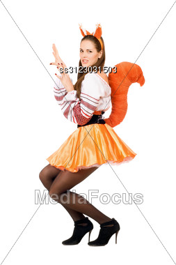Playful Young Woman Dressed In A Suit Squirrels Stock Photo