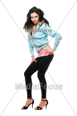 Playful Young Woman In A Black Leggings. Stock Photo