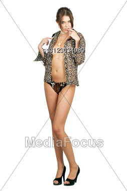 Playful Young Woman In Leopard Shirt. Stock Photo