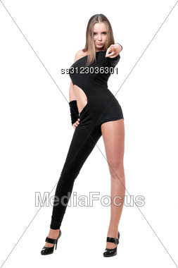 Playful Young Woman In Skintight Black Costume Stock Photo