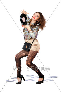 Playful Young Woman With Vinyl Disc In A Hands Stock Photo