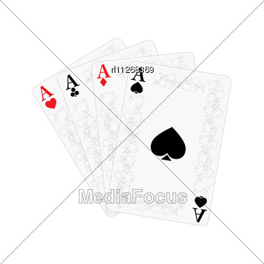 Playing Cards, Four Of A Kind Stock Photo