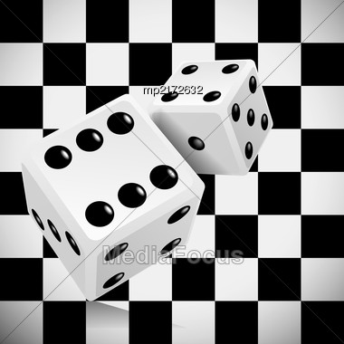 Playing Dice For A Casino On A Transparent Checkered Background. Vector Illustration Stock Photo