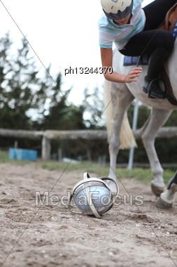 Playing Horseball Stock Photo