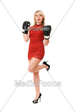 Pleasing Blond Young Woman In Boxing Gloves Stock Photo