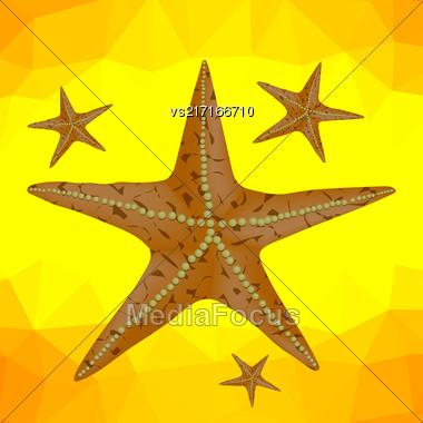 Plenty Of Cushion Starfish On A Sandy Ocean Floor. Caribbean Starfish On A Yellow Polygonal Background Stock Photo