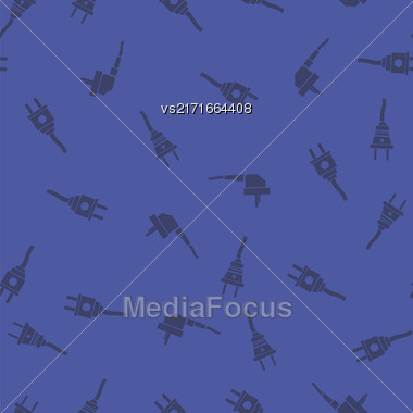 Plugs Seamless Pattern Isolated On Blue Background Stock Photo