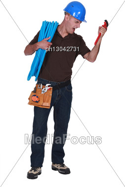 Plumber Looking Angry Stock Photo