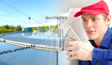 Plumber In Uniform Repairing Old Pipeline. Collage Stock Photo