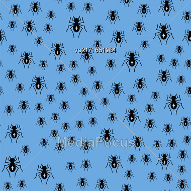 Poisonous Spider Seamless Pattern On Blue Background Stock Photo