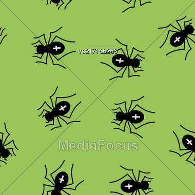 Poisonous Spider Seamless Pattern On Green Background Stock Photo