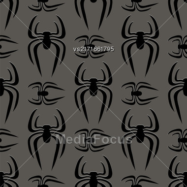 Poisonous Spider Seamless Pattern On Grey Background Stock Photo