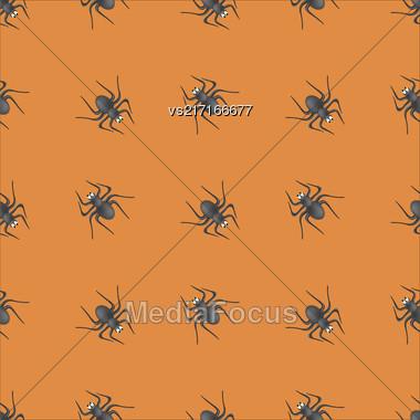 Poisonous Spider Seamless Pattern On Orange Background Stock Photo