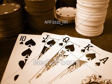 Poker Chips & Royal Flush Stock Photo