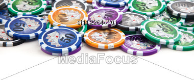 Poker Table And A Card, Ace, Gambling Stock Photo