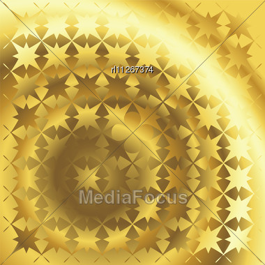Polished Gold Texture With Floral And Stars Background Stock Photo