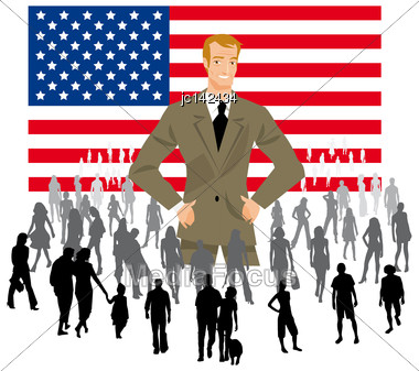 Politician On An American Flag With A Crowd Of People For Democratic Elections Political Parties Stock Photo
