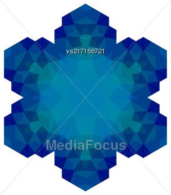 Polygonal Blue Symbol Isolated On White Background Stock Photo