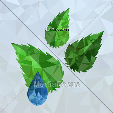 Polygonal Blue Water Drop And Green Leaves Isolated On Mosaic Background Stock Photo