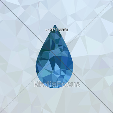 Polygonal Blue Water Drop Isolated On Mosaic Background Stock Photo
