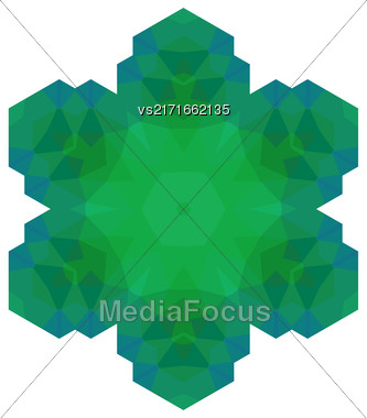 Polygonal Green Symbol Isolated On White Background Stock Photo