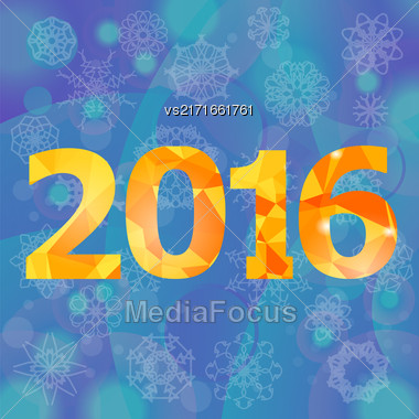 Polygonal New Year Numbers On Blue Snow Flake Background Stock Photo