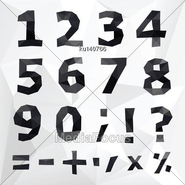 Polygonal Number Set. Geometrical Style. Vector Illustration Stock Photo