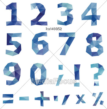 Polygonal Number Set. Geometrical Style. Vector Illustration Stock Photo
