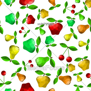 Polygonal Pear Apple Seamless Pattern Isolated On Green Background Stock Photo