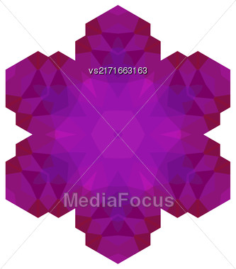 Polygonal Pink Symbol Isolated On White Background Stock Photo