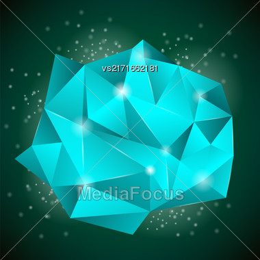 Polygonal Stone Isolated On Dark Background. Abstract Polygonal Pattern Stock Photo