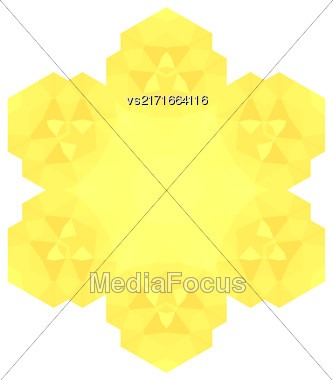 Polygonal Yellow Symbol Isolated On White Background Stock Photo