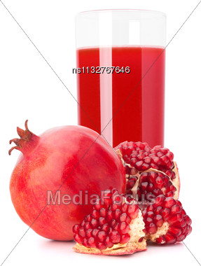 Pomegranate Fruit Juice In Glass Isolated On White Background Cutout Stock Photo