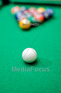 Pool Game Balls On Green Felt Table Stock Photo