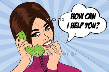 """Pop Art Cute Retro Woman In Comics Style With Message """"how Can I Help You"""", Vector Illustration Stock Photo"""